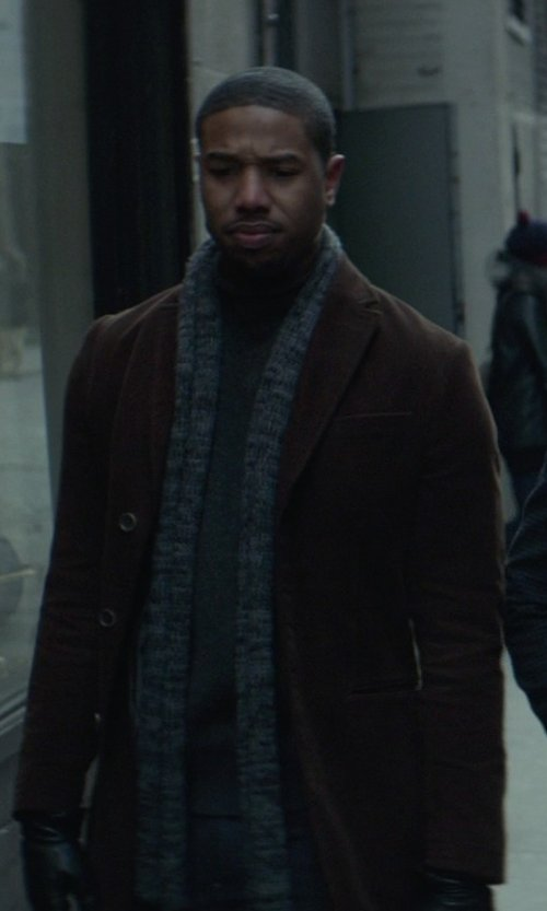 Michael B. Jordan with Lauren By Ralph Lauren Columbia Cashmere-Blend Overcoat in That Awkward Moment