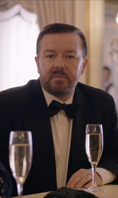 Ricky Gervais with Tiger Of Sweden  Specter Wool Tuxedo Suit in Special Correspondents