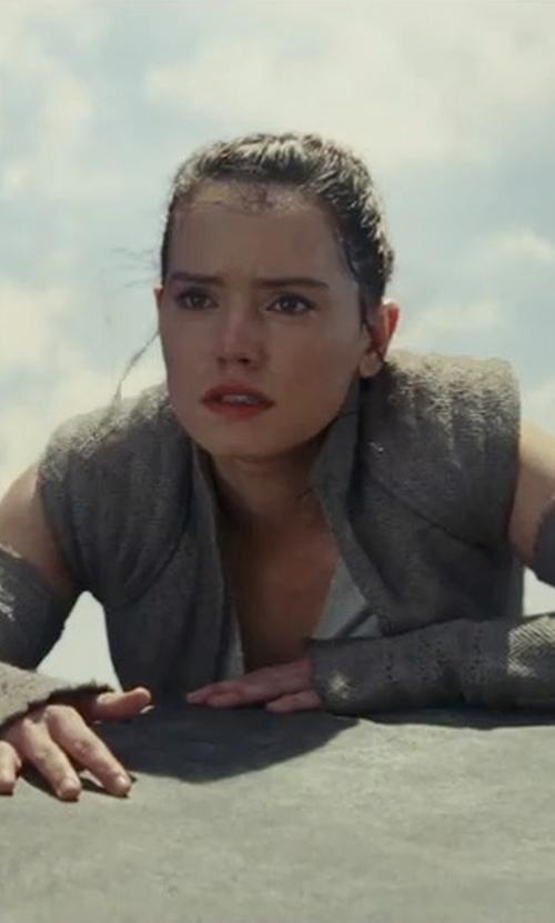 Daisy Ridley with Michael Kaplan (Costume Designer) Custom Made Rey Costume in Star Wars: The Last Jedi