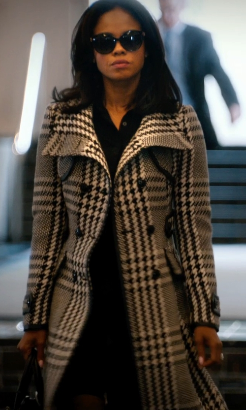 Sharon Leal with Karen Millen Statement Check Coat in Addicted