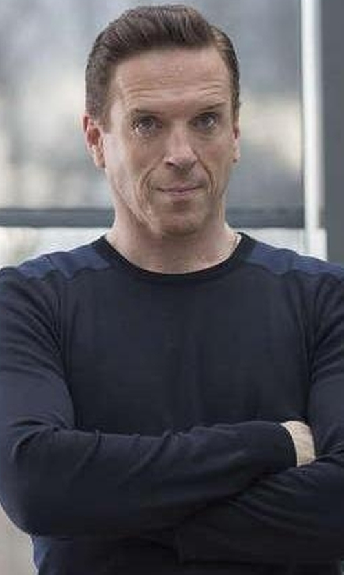 Damian Lewis with Michael Kors Interlock Long-Sleeve Cashmere Sweater in Billions