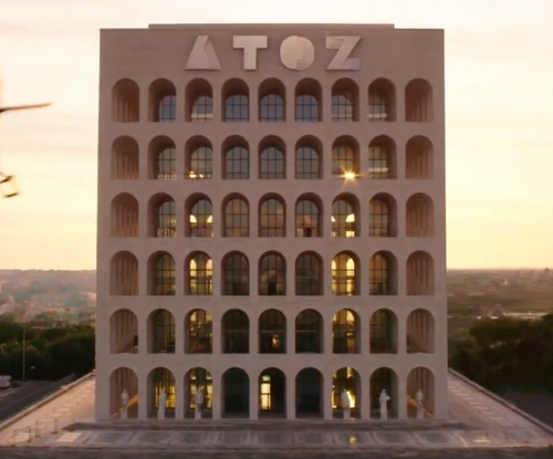 Unknown Actor with Palazzo della Civiltà Italiana (Depicted as ATOZ Building) Rome, Italy in Zoolander 2