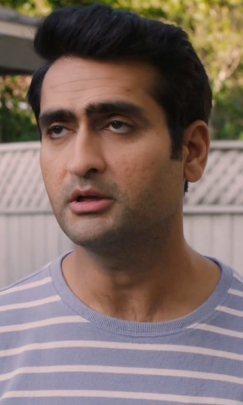 Kumail Nanjiani with Tommy Hilfiger Crewneck Stripe Sweater in Silicon Valley