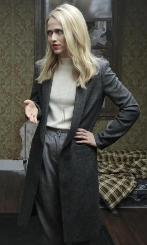 Johanna Braddy with Alice + Olivia Kylie Long Shawl-Collar Coat in Quantico