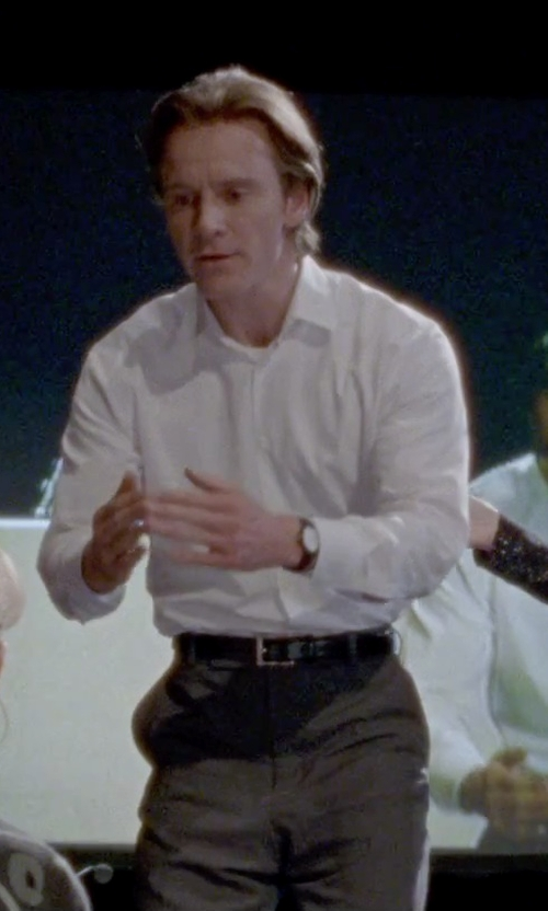 Michael Fassbender with Thomas Pink Callow Texture Classic Fit Double Cuff Shirt in Steve Jobs