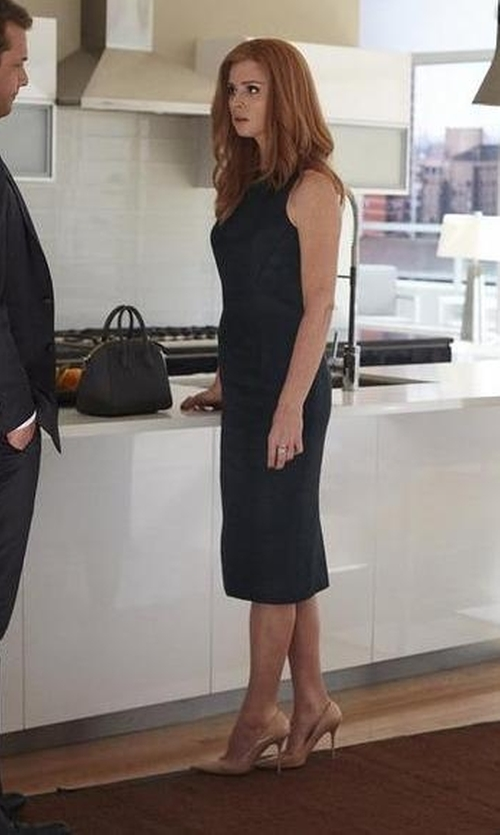Sarah Rafferty with Givenchy Antigona Mini Leather Satchel Bag in Suits