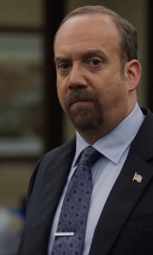 Paul Giamatti with Kiton Aqua Medallion Silk Tie in Billions