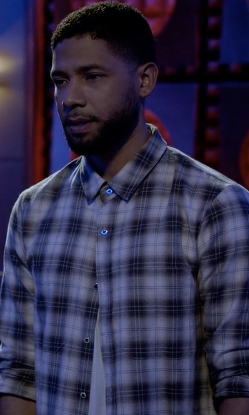 Jussie Smollett with Stussy Norfolk Plaid Button Down in Empire
