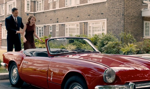 Emily Browning with Triumph 1967 Spitfire MK-3 Car in Legend