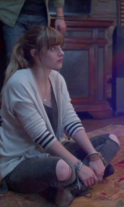 Aubrey Peeples with Caterpillar Narcissa Combat Boot in Jem and the Holograms