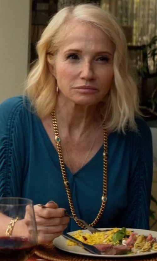 Ellen Barkin with Michael Kors Collection Silk Georgette Slit Neck Blouse in Animal Kingdom