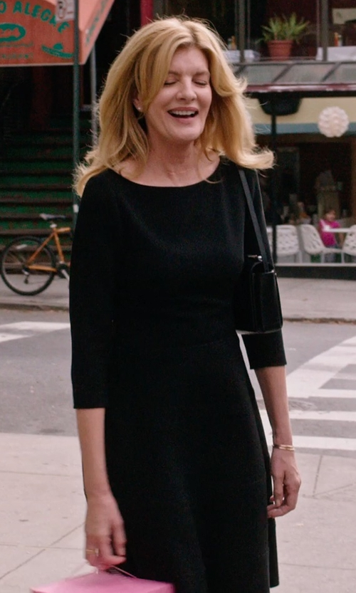 Rene Russo with Tory Burch Long-Sleeve Ruffle-Hem Jersey Dress in The Intern