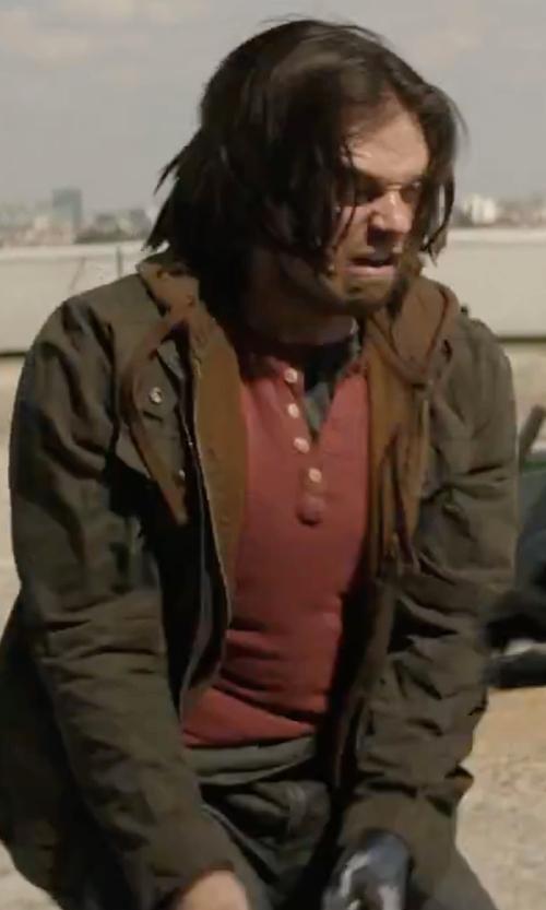Sebastian Stan with Armani Collezioni Zip Jacket in Captain America: Civil War