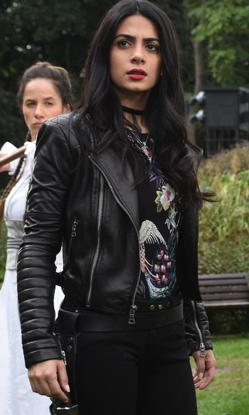 Emeraude Toubia with Alice + Olivia Gamma Leather Moto Jacket in Shadowhunters