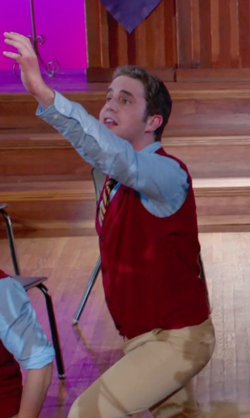 Ben Platt with Paul Fredrick Wool Button Front Sweater Vest in Pitch Perfect 2