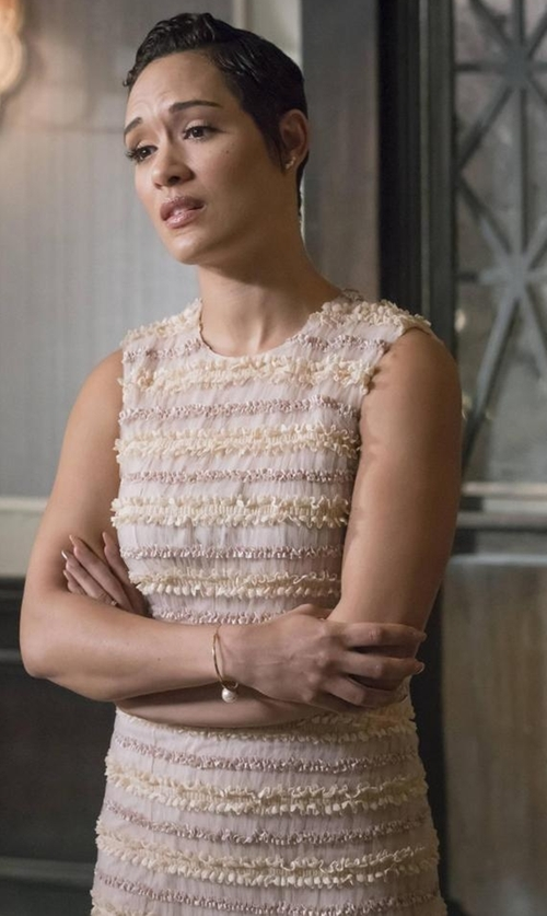Grace Gealey with Givenchy Sleeveless Micro-Ruffle Cocktail Dress in Empire