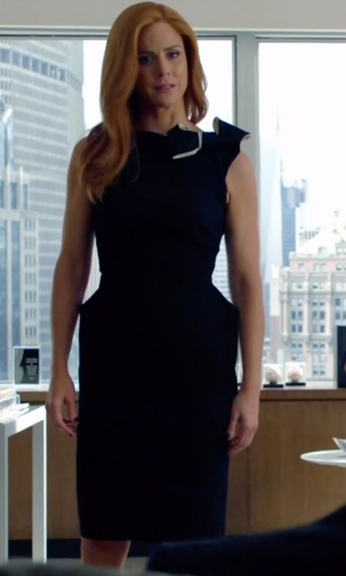 Sarah Rafferty with Lanvin Bow Shoulder Wool Crepe Dress in Suits