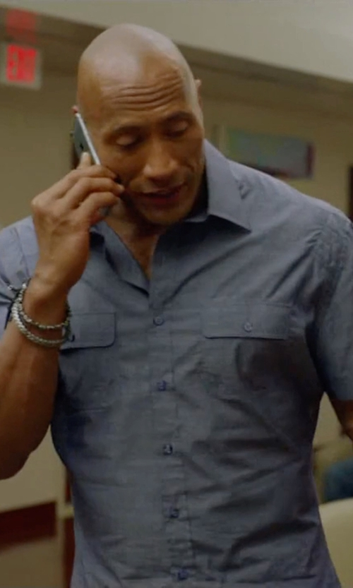 Dwayne Johnson with Theory Short-Sleeve Linen Shirt in Ballers