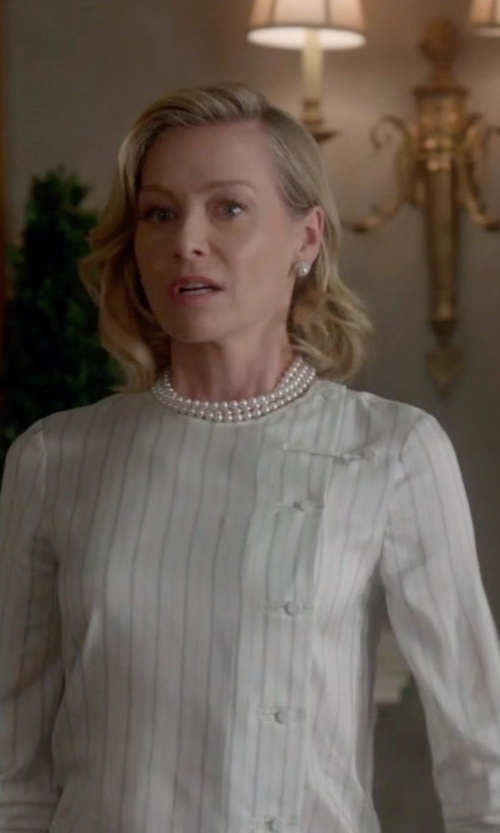 Portia de Rossi with Brock Collection Cotton Stripe Bee Blouse in Scandal