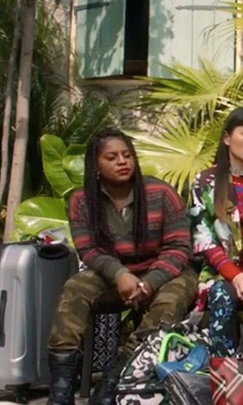 Ester Dean with Vince Striped Cashmere Crew Sweater in Pitch Perfect 3