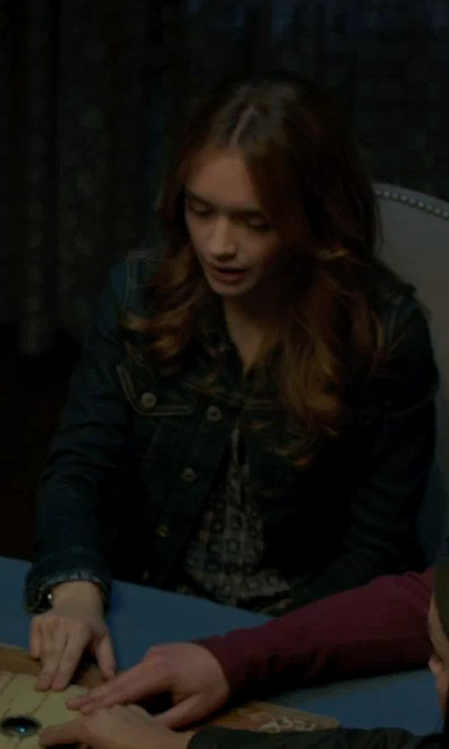 Olivia Cooke with Etro Geometric Print Blouse in Ouija