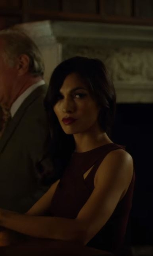Elodie Yung with Charles Youssef Cutout Jersey Dress in Daredevil