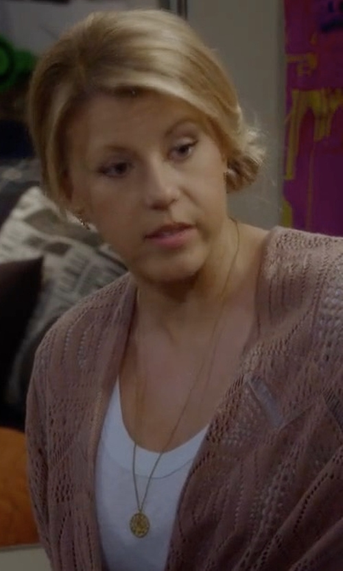 Jodie Sweetin with Roberto Coin Paw Disc Pendant Necklace in Fuller House