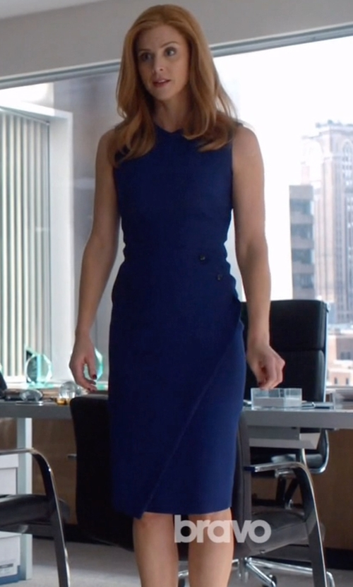 Sarah Rafferty with Victoria Beckham Studded Open-Back Bias-Slit Sheath Dress in Suits