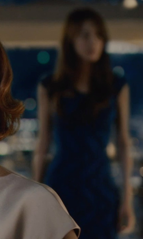 Claudia Kim with Adrianna Papell Lace Sheath Dress in Avengers: Age of Ultron