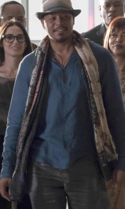 Terrence Howard  with Drake's Unicorn-Print Wool-Silk Gauze Scarf in Empire
