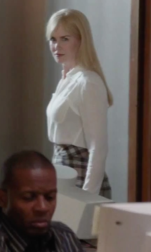 Nicole Kidman with Forever Young Midi Plaid Pattern Long Pencil Pull-On Skirt in Secret in Their Eyes