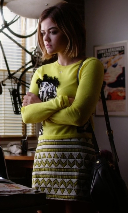 Lucy Hale with Zara Green Jacquard Skirt in Pretty Little Liars