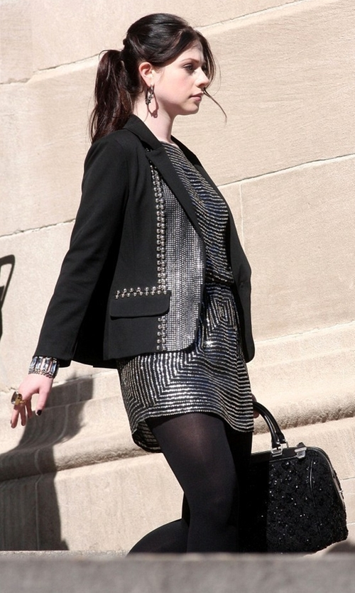 Michelle Trachtenberg with Louis Vuitton Fall 2012 Sequin Bag in Gossip Girl