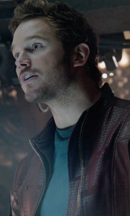 Chris Pratt with Alexandra Byrne (Costume Designer) Custom Made Leather Jacket (Peter Quill / Star-Lord) in Guardians of the Galaxy
