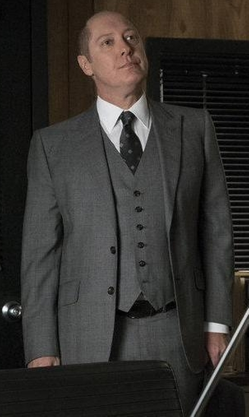 James Spader with Boss Hugo Boss Huge Genius Slim Birdseye Three-Piece Suit in The Blacklist