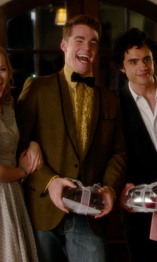 Gabriel Basso with Neiman Marcus Pindot Pattern Silk Bow Tie in Barely Lethal