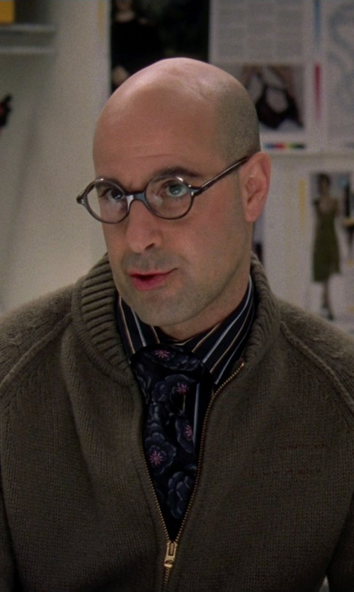 Stanley Tucci with Alex Cannon Men's Full Two-Way Zip Cardigan in The Devil Wears Prada