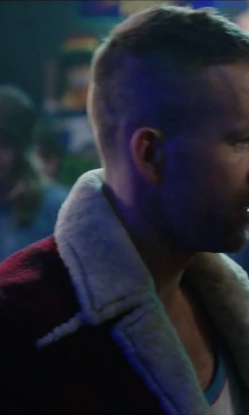 Ryan Reynolds with Saint Laurent Faux-Shearling Lined Plaid Jacket in Deadpool