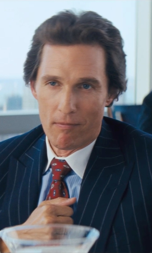 Matthew McConaughey with Yves Saint Laurent Pinstriped Wool Classic-Fit Suit in The Wolf of Wall Street