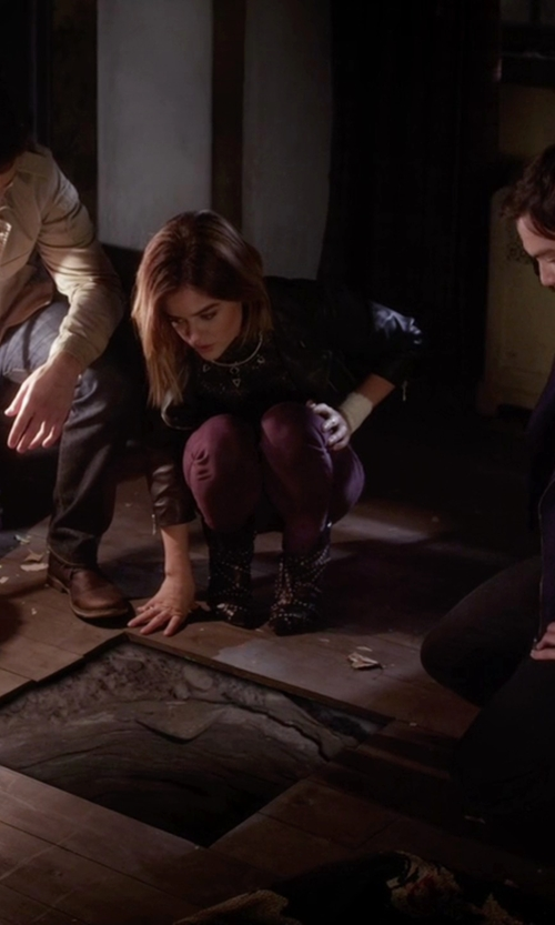 Lucy Hale with United Nude Studded Ankle Boots in Pretty Little Liars