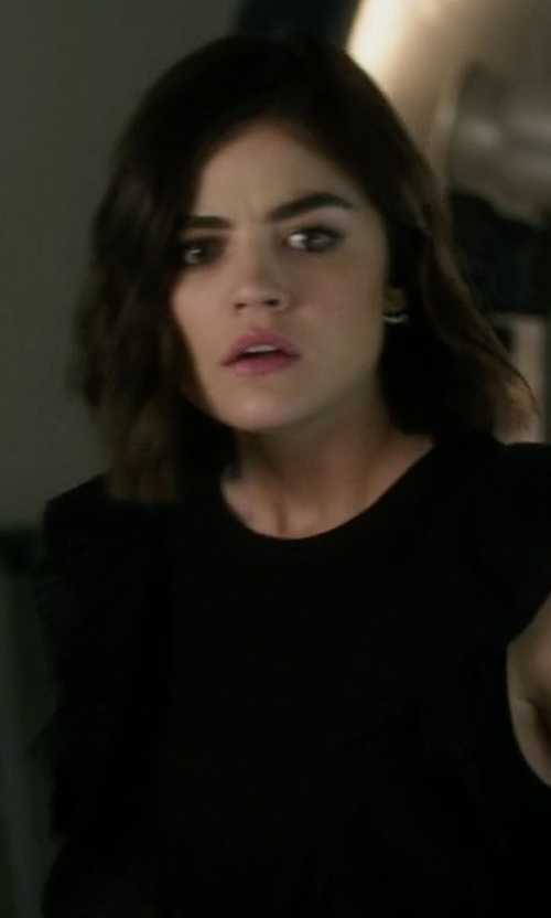 Lucy Hale with Trina Turk Gold-Plated Hoop Earrings in Pretty Little Liars