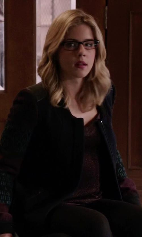 Emily Bett Rickards with Zara Jacquard Sleeves Coat in Arrow