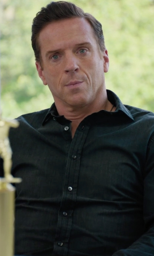 Damian Lewis with The Kooples Sport Solid Button-Down Shirt in Billions