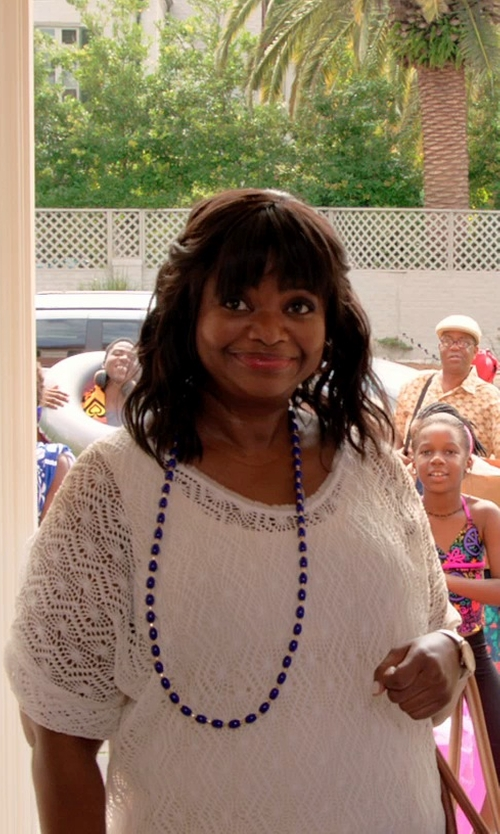 Octavia Spencer with Three Dots Lace Short-Sleeve Blouse in Black or White