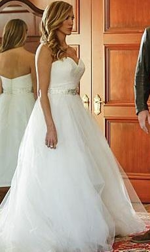 Katie Cassidy with Madeline Gardner Mori Lee Bridal Rich Beading On Satin Belt Dress in Arrow