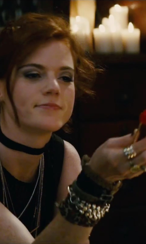 Rose Leslie with Oscar De La Renta Swarovski Crystal Multi-Row Ring in The Last Witch Hunter