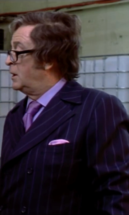 Michael Caine with Ike Behar Two-Piece Stripe Suit in Austin Powers in Goldmember