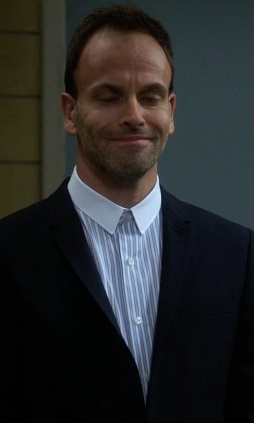 Jonny Lee Miller with Cego Custom Made Contrast Collar Stripe Button Shirt in Elementary