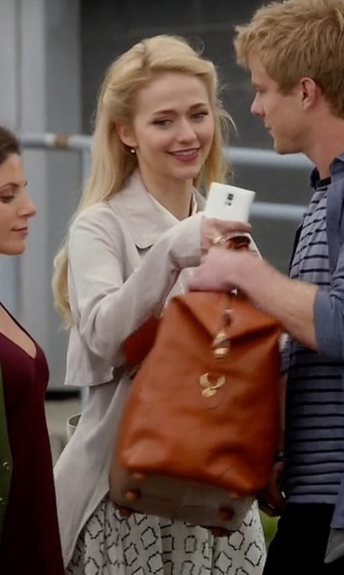 Johanna Braddy with Ralph Lauren Whitby Leather Satchel Bag in Quantico