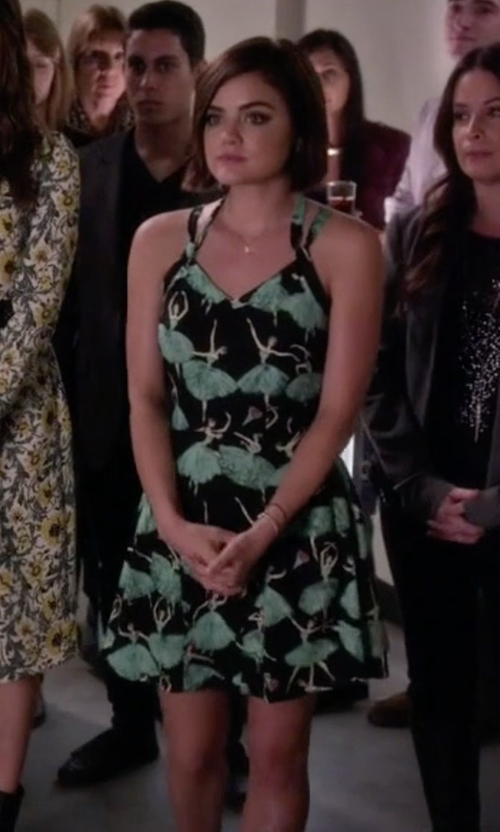 Lucy Hale with Sidecca Ballerina Print Cami Dress in Pretty Little Liars
